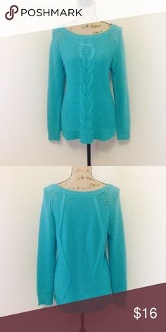 Comfy teal sweater! Soft comfy teal sweater. Beautiful knit design down the front. Sweaters