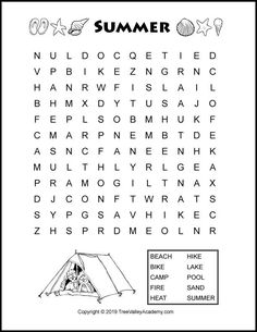 Summer word search puzzles for kids with summer themed words. The word searches are at a grade 3 & 4 spelling level. Free printable pdf with answers. Summer Worksheets, English Worksheets For Kids, 2nd Grade Worksheets, English Lessons For Kids, Kids Math Worksheets, Spanish Lessons, Teaching Spanish, Preschool Activities, Kids Word Search