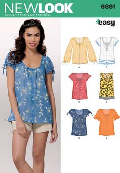 New Look Ladies Easy Sewing Pattern 6891 Summer Tops & Blouses | Sewing | Patterns | Minerva Crafts