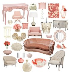 """pearly parlor"" by crystalliora ❤ liked on Polyvore featuring interior, interiors, interior design, home, home decor, interior decorating, Emporium Home, Edie Rose, Robert Abbey and Squarefeathers"