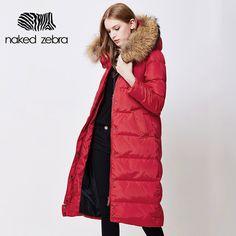 NAKED ZEBRA  Plus Size Women Winter Long Duck Down Jacket Fur Collar Lady Hooded Clothing Ultra Light Slim Brand Down Coat