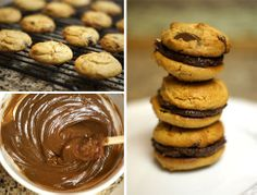 These peanut butter and chocolate sandwich cookies were a hit at my holiday party. I swapped in vegan chocolate chips and agave to make them paleo and vegan-friendly! Healthy Sweet Treats, Healthy Dessert Recipes, Real Food Recipes, Paleo Sweets, Vegetarian Chocolate, Vegan Chocolate, Chocolate Chips, Chocolate Frosting, Chocolate Fudge