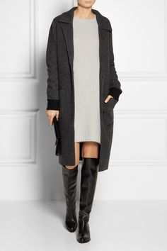 Alexander Wang Leather-trimmed boiled wool and cashmere-blend coat NET-A-PORTER.COM