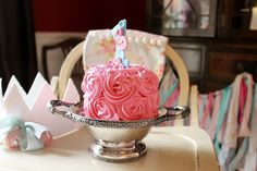 shabby chic, cute as a button first birthday party smash cake, done by Shannon Stubbs of Slice
