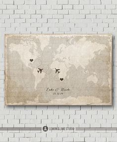 Giclée Edition Wedding Guest Book Alternative - Vintage World Map Poster Wedding Gift Wedding Map Destination Wedding Bride Gift Anniversary...