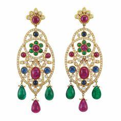 Lot 348 - Pair of Gold, Diamond and Gem-Set Pendant-Earrings