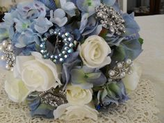 Wedding Brooch Bouquet Blue Hydrangea Vintage and by vintagevogue3, $135.00
