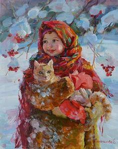 Russian Art, Russian Culture, Cat Art, Lovers Art, Illustration Art, Cat Illustrations, Fine Art, Artwork, Young Women