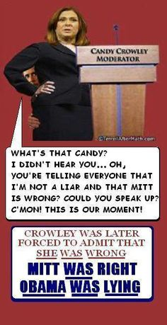 .miss crowley...a liberal....is the first time a host of a debate embarrassed herself like that on stage so comletely.
