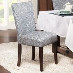 HomePop Navy and Cream Modern Floral Parson Chairs (Set of - 17411498 - Overstock - Great Deals on HomePop Dining Chairs - Mobile Parsons Dining Chairs, Dining Chair Set, Dining Room Chairs, Side Chairs, Dining Rooms, Dining Table, Dining Sets, Dining Area, Kitchen Dining
