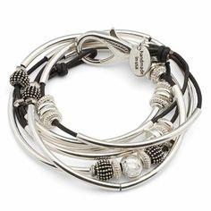 Ginger 2 strand wrap bracelet in Black leather