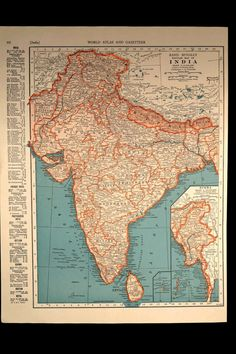 Vintage map of ontario vintage map of quebec on reverse side india map india vintage ceylon nepal burma 1940s original gumiabroncs Images