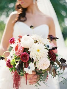 anemones and burgandy flowers