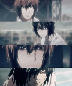 Death Note, Light and L. This scene made me so sad :( it was a touching scene right before Light...and L...*cries*