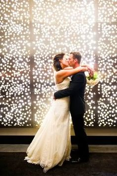 String lights for photo wall backdrop #weddings