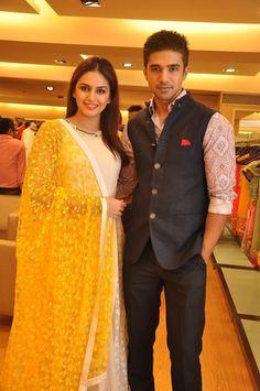 Huma Qureshi and Saqib Saleem dressed in Varun Bahl at the designer's preview at AZA in Mumbai