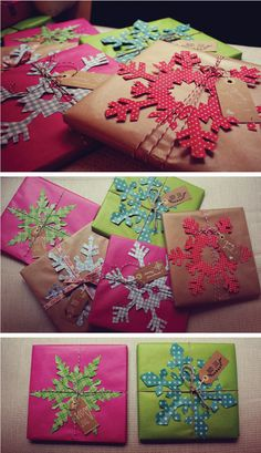 Christmas wrap with brightly colored hand cut snowflakes + bakers twine / thecarolinejohansson.com