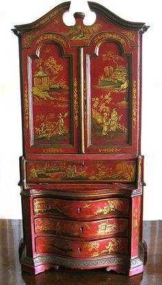 Rare and fine Italian red chinoiserie miniature trumeau (secretary bookcase). Late 18th Century. Courtesy of R.M. Barokh Antiques
