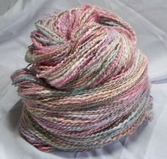 Prismatic Waters Blue Green Pink Tan hand dyed handspun yarn 438 yards 5.9 oz Merino Bamboo Metallic/Poly Two Ply door NicsPics4U op Etsy https://www.etsy.com/nl/listing/246327292/prismatic-waters-blue-green-pink-tan