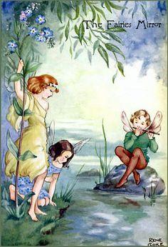 """The Fairies' Mirror """"Rene Cloke"""" Fairy Series 1187 3 Fairies outside by water. Fairy Land, Fairy Tales, Fairy Paintings, Vintage Fairies, Mystique, Flower Fairies, Magical Creatures, Faeries, Fantasy Art"""