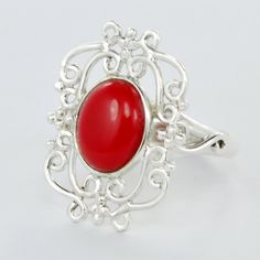 ON SALE Red Coral Ring Sterling Silver Rings for women - Gemstone ring - Sterling silver - Gift for her Christmas Day (16.00 USD) by DevmuktiJewels
