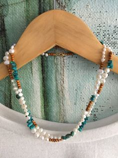 Long Freshwater Pearl Turquoise Wood Necklace by GirlwiththePearl1
