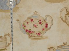 Teapot fabric vintage tea pot china from Brick House Fabric: Novelty Fabric