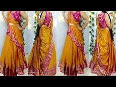 Saree Tassels Designs, Half Saree Designs, Fancy Blouse Designs, Bridal Blouse Designs, Saree Blouse Designs, Dress Designs, Lehanga Saree, Lehenga Saree Design, Lace Saree
