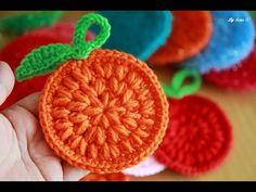 Crochet knitted orange sponges 코바늘뜨기 수세미 도안 오렌지수세미뜨기 도입 - YouTube