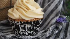 Delicious from-scratch almond-vanilla cupcakes have a salted caramel buttercream frosting. That little hint of salt really brings out the flavors. Almond Cupcakes, Vanilla Cupcakes, Yummy Cupcakes, Wedding Cakes With Cupcakes, Cupcake Cakes, Cup Cakes, Frosting Recipes, Cupcake Recipes, Caramel Buttercream Frosting