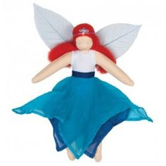 Blue Fairy Waldorf Kerchief Doll with skirt made of real silk, and wings made of real magnolia leaves. $29.95