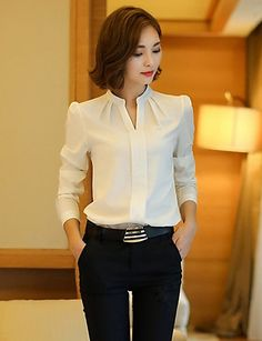 Winter Women Shirts 2016 New Fashion V-neck Collar White Long Sleeve Shirt Thicken Ladies Formal Blouses And Tops Supernatural Style Mode Outfits, Office Outfits, Casual Outfits, Women's Casual, Formal Blouses, The Office Shirts, Mode Hijab, White Shirts, Work Attire