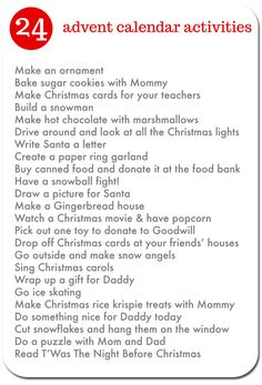 24 Advent calendar activities