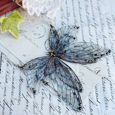Image of Magical black faerie wing necklace