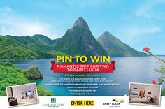 Here's your chance to win a romantic trip for two to Saint Lucia! Like Saint Lucia on Facebook and follow Saint Lucia on Pinterest. Sign-up for the #sweepstakes by providing your First Name, Last Name and Email. Pin at least three of the contest entry images. On October 1, we will select a random winner to receive a romantic trip for two to travel to Calabash Cove, including hotel and airfare. Enter here: http://woobox.com/nk8j8e #pintowin #win