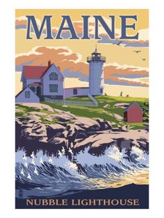 Nubble Lighthouse - York, Maine Art by Lantern Press Vintage travel/art poster - would love to have Retro Poster, Vintage Travel Posters, National Park Posters, National Parks, Travel Sticker, York Maine, Photo Vintage, Vintage Ski, Photos Voyages