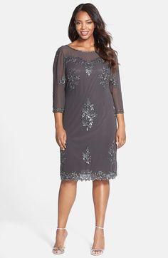 J Kara Embellished Illusion Yoke Sheath Dress (Plus Size)
