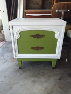 Custom Mid Century Modern 2 Drawer Nightstand in White & Olive Green Los Angeles by HouseCandyLA, $199.00