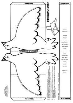 paloma que vuela. Se recortan las alas por la línea de puntos y se pegan las pestañas juntas.  La tira de papel se dobla y se introduce por la ranura para pegarla al fondo. Al tirar del papel ¡la paloma vuela!