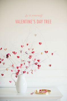 Check out these DIY Valentine's Day decorations that are so easy to make. Our sweet and simple projects include romantic bedroom ideas, cute crafts the kids can help create, Valentine's Day table decor, and more! Valentine Tree, Saint Valentine, Valentine Day Crafts, Happy Valentines Day, Holiday Crafts, Holiday Fun, Valentine Ideas, Holiday Decor, Diy Valentine's Day Decorations