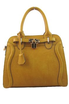 Monica Tote in Wheat The perfect everyday tote! The lock adds an adorable feature and the adjustable shoulder strap allows you to carry it however you like Bags #Handbags