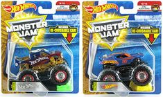 Bundle of 2 Hot Wheels Monster Jam 2018 Scale Diecast Trucks with Re-Crushable Cars: Anniversary Hot Wheels Truck and Team Hot Wheels Firestorm Since 68 Truck Epic Additions and Ford Gt, Ford Mustang, Monster Jam, Chevy Silverado, Scale Models, Hot Wheels, Nissan, Mattel, 50th Anniversary