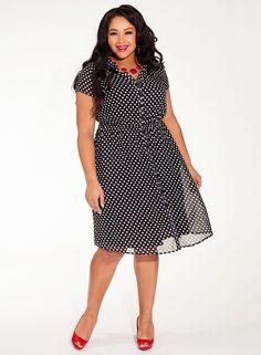 Plus Size Sarah Dress in Noir Retro Dot