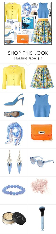 """""""Blue Burst"""" by kleinwillwin ❤ liked on Polyvore featuring Marni, Dolce&Gabbana, Aquarelle, Banana Republic, Neiman Marcus, Alexis Bittar, Bobbi Brown Cosmetics, Palm Beach Jewelry, Anja and Bare Escentuals"""