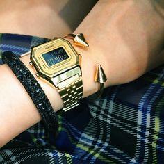 Vintage Casio Watch + Swarovski Stardust Bracelet by Miranda Kerr