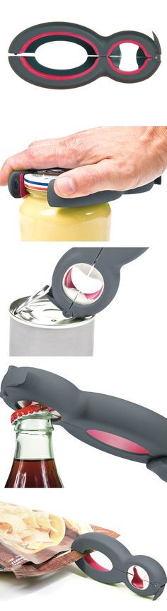 Six-in-One Kitchen Tool - opens jars, bottles, pull-tabs, seals and bags.