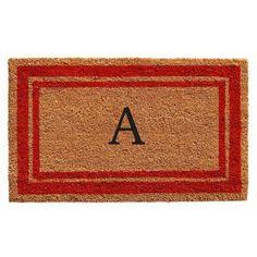 Momentum Mats Red Border Monogram Doormat (1'6 x 2'6), Black