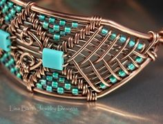 Wow - turquoise and copper wire wrapped bracelet: