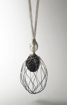 Eunju Park Necklace: Germinate 2, 2007 925 silver, silk thread 80 x 570 x 65 mm