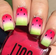 Watermelon Nails by kyletta Great Nails, Cool Nail Art, Love Nails, Fun Nails, Watermelon Nail Art, Fruit Nail Art, Beautiful Nail Designs, Cute Nail Designs, Nailart